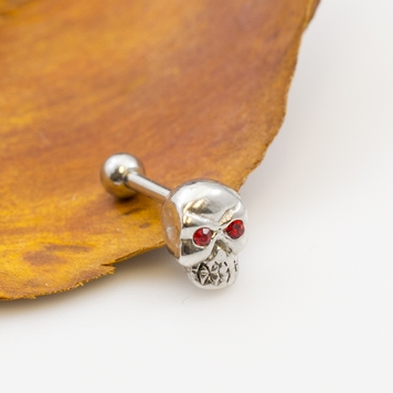 Skull with Red CZ Design Ear Cartilage/Tragus Barbell 16ga