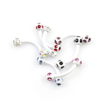 Pack of 7 White Anodized Curved Barbells with CZ - Assorted Colors 16ga 3/8