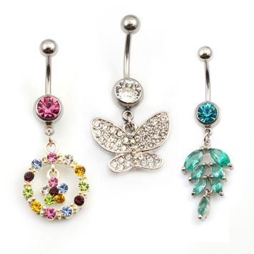 3Pcs Surgical Steel Belly Button Rings for Women 14G CZ Stones