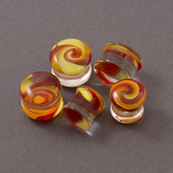 Pair of  Double Flare Yellow and Orange Swirl Glass Plugs