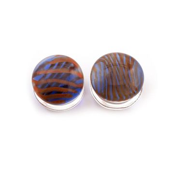 Pair of  Double Flare Blue and Red Stripe Glass Plugs