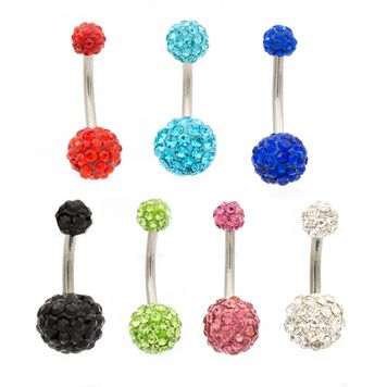 Pack of 8 Assorted Color Ferido Belly Button Rings No Duplicates 14ga Surgical Steel