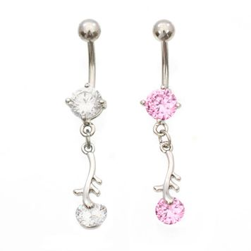 Dangling Cubic Zirconia Leaf Design Belly Button Ring 14ga Surgical Steel