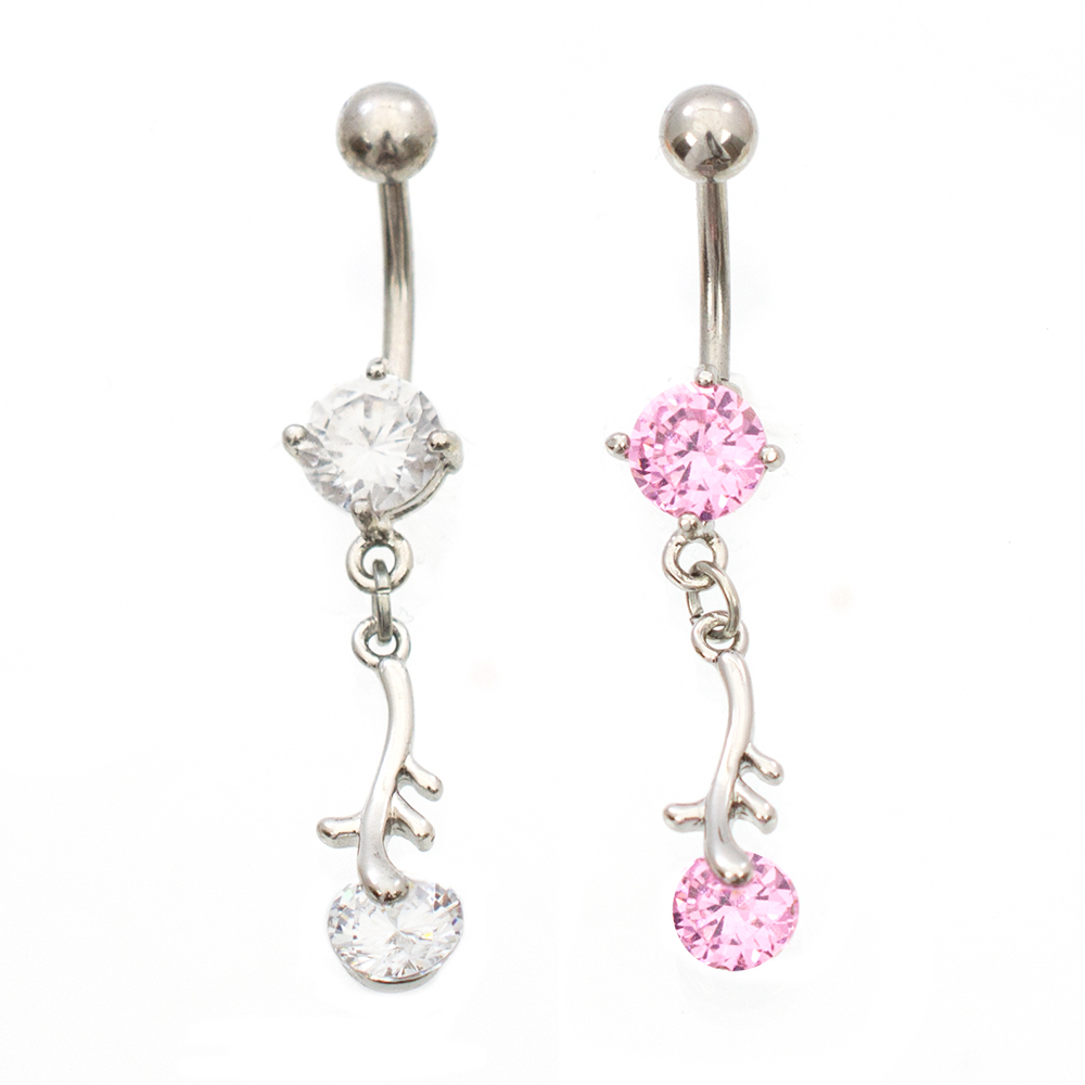Surgical Steel Belly Ring Multiple CZ Circles Dangle