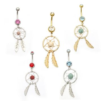 Pack of 5 Dream Catcher Design Belly Button Rings Assorted Colors 14ga 3/8 Surgical Steel