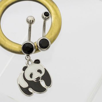 Pack of 2 Belly Button Rings- Panda Design Dangle & Double Black CZ 14ga
