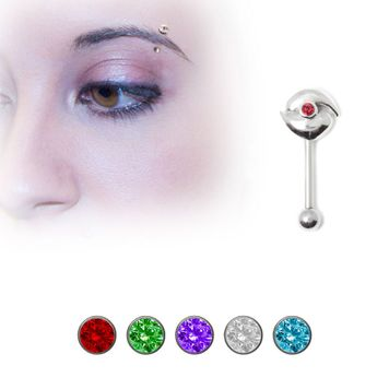 .925 Sterling Silver Unique Eyebrow Ring with Jewel