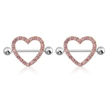 """AB Gem Paved Heart Nipple Shield Ring Piercing jewelry 14G 3/4"""" Length - Rose Gold"""