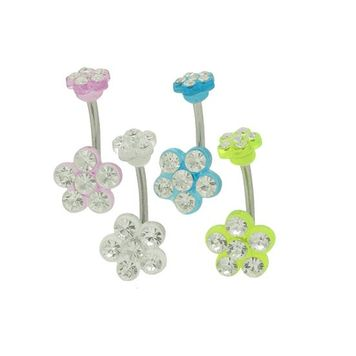 Acrylic Flower Design With Clear Jewels 14 gauge Navel Ring