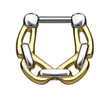 All Surgical Steel Septum/Cartilage Clickers with Linked Chain 14G - 16G