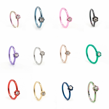 Anodized Titanium Bendable Nose Hoop Ring with Flower Design and Cubic Zirconia Stone 20G