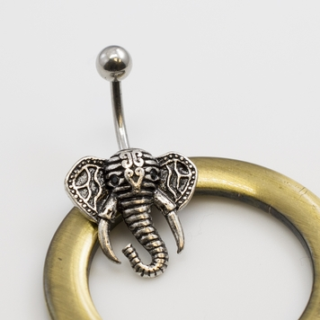Antique Designed Elephant Head Belly Button Rings 14ga 3/8 inches