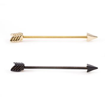 Arrow Design Industrial Barbell I.P. Coated 14ga 316L Surgical Steel - Gold or Black