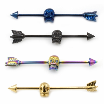 Industrial Barbell with Skull Design Anodized Titanium 14G