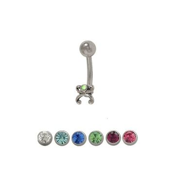 14 gauge Art Deco Belly Ring Surgical Steel with Jewel