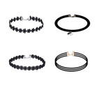 Assorted Stretch Velvet Design Choker Necklaces-4 pcs - Out Of Stock
