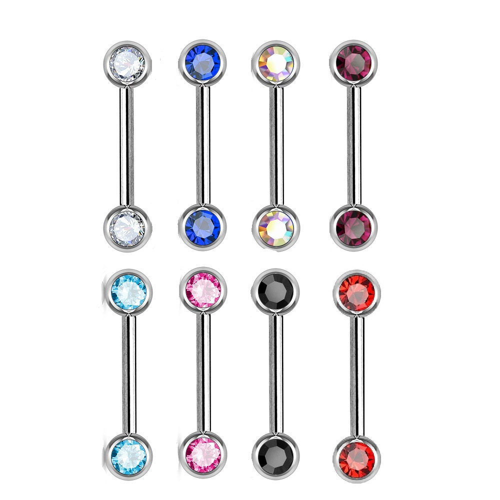 Barbell Nipple Ring Surgical Steel With Jewels 16 Gauge Body Jewelry