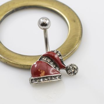 Red Christmas Hat with CZ Belly Button Ring 14g