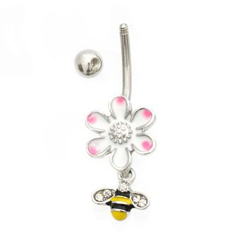 Enamel Flower and Bee Dangle Belly Button Ring 14ga Surgical Steel
