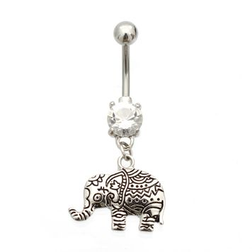 Henna Elephant Design Belly Button Ring 14ga Surgical Steel