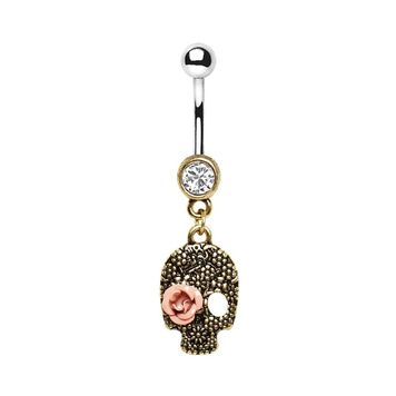 Skull and Rose Antique Look Design Belly Button Ring Surgical Steel 14ga