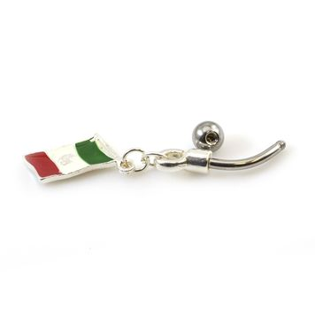 Mexican Flag Dangle Belly Button Ring 14ga