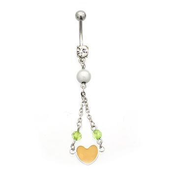 Luxe Modz Faux Pearl and Orange Dangling Heart Belly Button Ring 14ga Surgical Steel