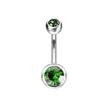 Belly Button Navel Rings Implant Grade Titanium Double Bezel Set Jeweled
