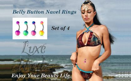 Belly Button Navel Rings Two Tone Color Rubber Coated on 316L Surgical Steel set of 4