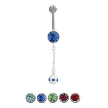 Dangling Jeweled Ball  Design Belly Button Ring 316L Surgical Steel 14ga