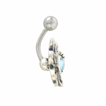 Belly Button Ring, Butterfly Design with Jewel-14 gauge