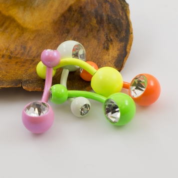 Belly Button Ring Package of 5 with Colorful enamel coated and Press fit CZ 14G