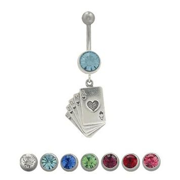 Belly Button Ring Surgical Steel Dangling Card Design