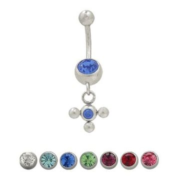 Belly Button Ring (14G) Surgical Steel Dangling Design with Jewels