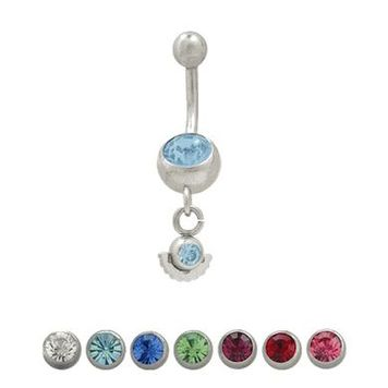 Belly Button Ring Surgical Steel Dangling Design with Jewels (14 gauge)