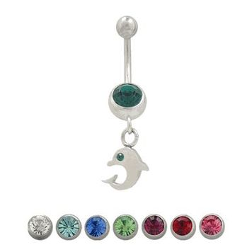 14 gauge Belly Button Ring Surgical Steel Dangling Dolphin Design with Jewel