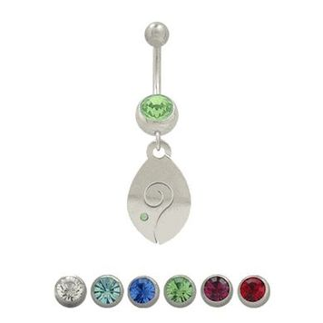 14 gauge Belly Button Ring Surgical Steel Dangling Fish Design with Jewel
