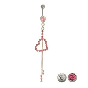 14 gauge Belly Button Ring Surgical Steel Dangling Heart with Jewels