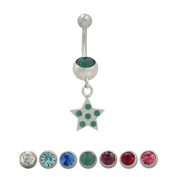 14 gauge Belly Button Ring Surgical Steel Dangling Star Design with Jewels
