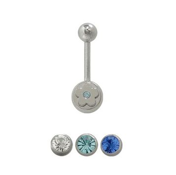 14 gauge Belly Button Ring Surgical Steel Flower Design with Jewel