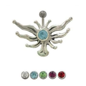 14 gauge Belly Button Ring - surgical steel shaft with sterling silver wings