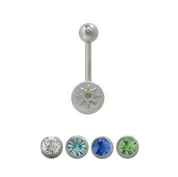 14 gauge Belly Button Ring Surgical Steel Star Design with Jewel