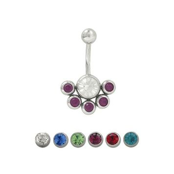 14 gauge Belly Button Ring Surgical Steel with 5 Jewel Design
