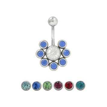 14 gauge Belly Button Ring Surgical Steel with 7 Jewel Design