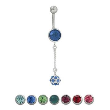 (14 gauge) Belly Button Ring Surgical Steel with CZ dangle design