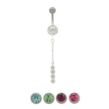 14 gauge Belly button ring surgical steel with dangling design