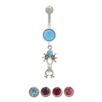 Sterling Silver Dangling Frog Design Belly Button Ring 14ga