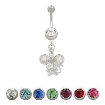 (14G) Belly Button Ring Surgical Steel with Dangling Mouse Design