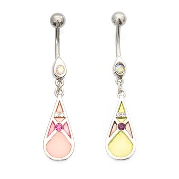 Luxe Modz Pastel Teardrop Shape CZ Design  Belly Button Ring 14ga Surgical Steel