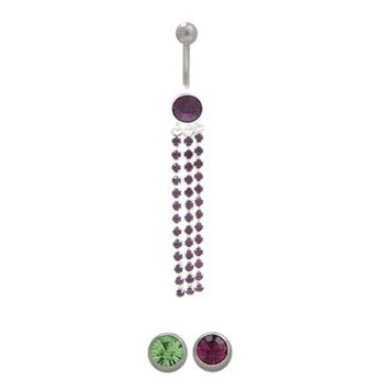 14 gauge Belly button ring surgical steel with sterling silver dangling design